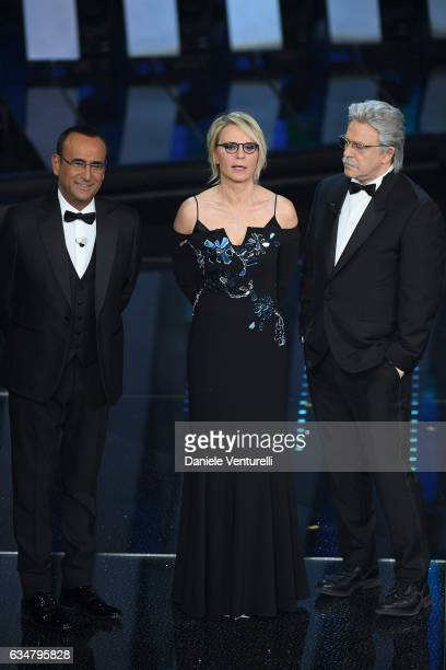 Carlo Conti Maria De Filippi and Maurizio Crozza attend the closing night of 67th Sanremo Festival 2017 at Teatro Ariston on February 11 2017 in...