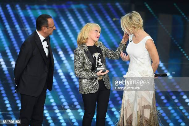 Carlo Conti Rita Pavone and Maria De Filippi attend the closing night of 67th Sanremo Festival 2017 at Teatro Ariston on February 11 2017 in Sanremo...