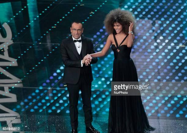 Carlo ContiTina Kunakey Di Vita during the 67th edition of the Sanremo Festival on February 11 2017