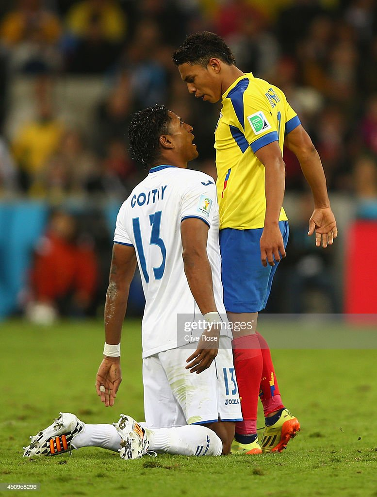 Carlo Costly of Honduras clashes with Jefferson Montero of Ecuador during the 2014 FIFA World Cup Brazil Group E match between Honduras and Ecuador at Arena da Baixada on June 20, 2014 in Curitiba, Brazil.