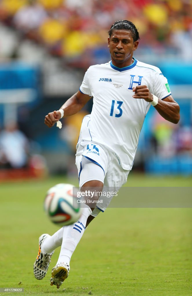 Carlo Costly of Honduras controls the ball during the 2014 FIFA World Cup Brazil Group E match between Honduras and Switzerland at Arena Amazonia on June 25, 2014 in Manaus, Brazil.