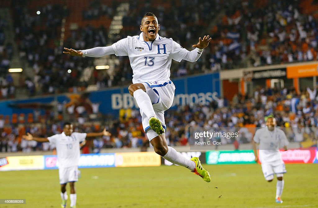 Carlo Costly #13 of Honduras reacts after scoring his second goal against Ecuador during an international friendly match at BBVA Compass Stadium on November 19, 2013 in Houston, Texas.