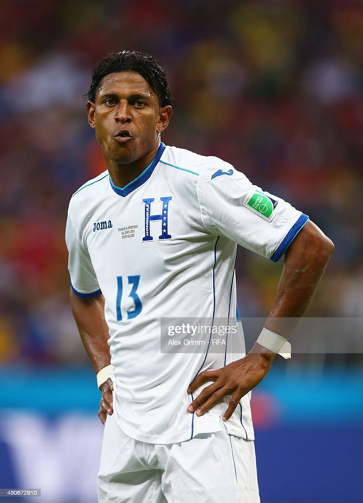 Carlo Costly of Honduras reacts during the 2014 FIFA World Cup Brazil Group E match between France and Honduras at Estadio Beira-Rio on June 15, 2014 in Porto Alegre, Brazil.