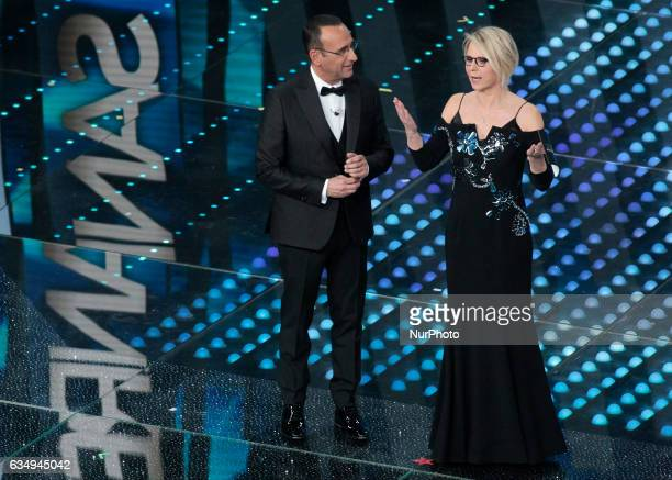 Carlo CotiMaria De Filippi during the 67th edition of the Sanremo Festival on February 11 2017
