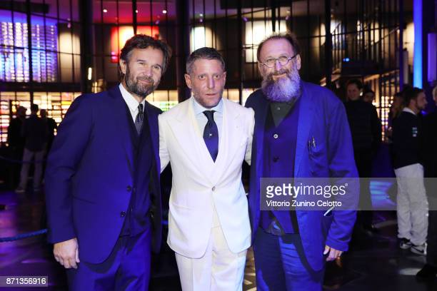 Carlo Cracco Lapo Elkann and Michele De Lucchi attend Opening Garage Italia Milano on November 7 2017 in Milan Italy