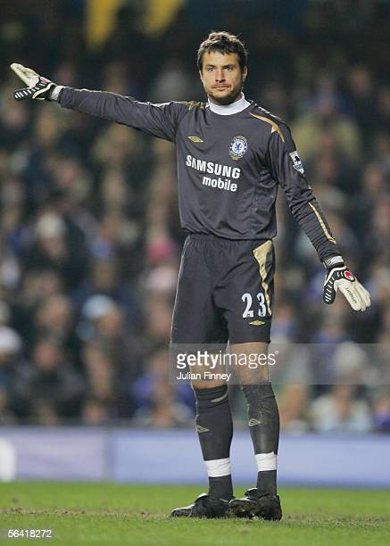 Carlo Cudicini of Chelsea in action during the FA Barclays Premiership match between Chelsea and Wigan Athletic at Stamford Bridge on December 10...