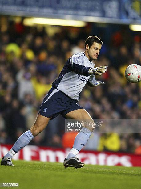 Carlo Cudicini of Chelsea kicks the ball up field during the FA Cup Third round replay between Chelsea and Watford on January 14 2004 at Stamford...