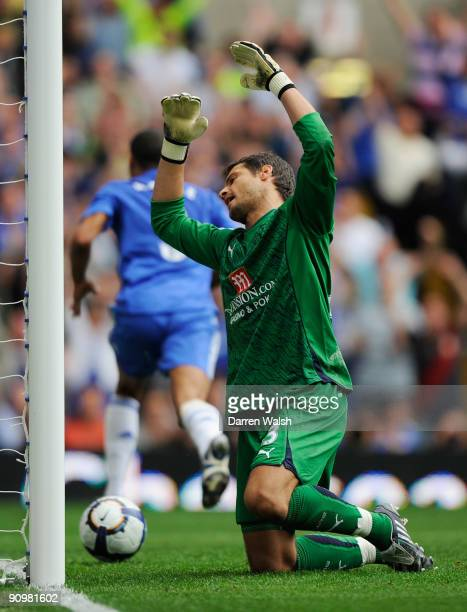 Carlo Cudicini of Spurs reacts after conceding the opening goal to Ashley Cole of Chelsea during the Barclays Premier League match between Chelsea...