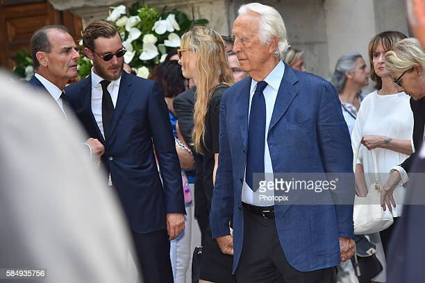 Carlo Ferdinando Borromeo Beatrice Borromeo and Pierre Casiraghi leave the Marta Marzotto funeral at church of Sant'Angelo on August 1 2016 in Milan...