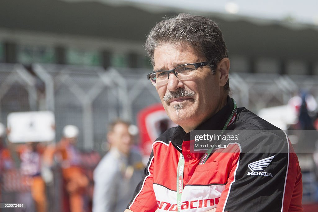 Carlo Fiorani of Italy looks on in pit during during the World Superbikes - Qualifying at Enzo & Dino Ferrari Circuit on April 30, 2016 in Imola, Italy.
