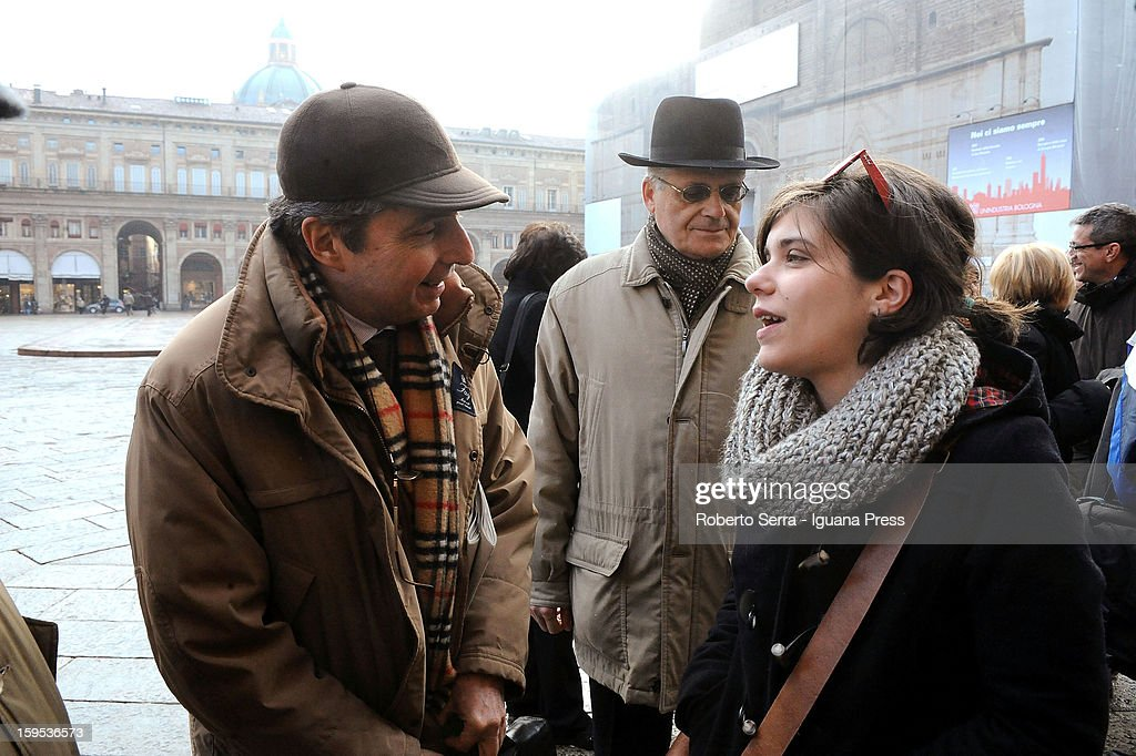 Carlo Galli, Paolo Bolognesi and Giuditta Pini, PD's candidate at Italian Parliament in the next political elections, talk in front of Farnese Chapel of Palazzo D'Accursio on January 15, 2013 in Bologna, Italy. The elections of a new Italian Parliament will take place on February 24.