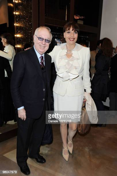 Carlo Giovannelli and Elsa Martinelli attend the opening of the ''Ester Maria Rivaroli'' flagship store on March 25 2010 in Rome Italy