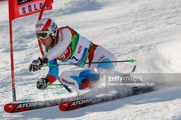 Carlo Janka from Switzerland takes 3rd place during the Alpine FIS Ski World Cup Men's Giant Slalom on October 25 2009 in Solden Austria