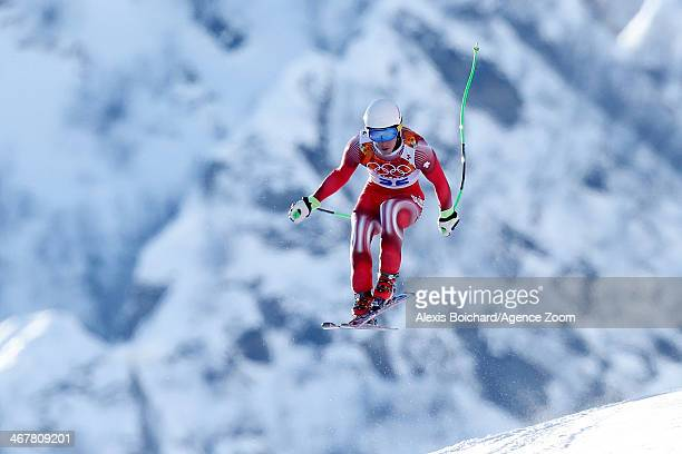 Carlo Janka of Switzerland competes during the Alpine Skiing Women's and Men's Downhill Training at the Sochi 2014 Winter Olympic Games at Rosa...