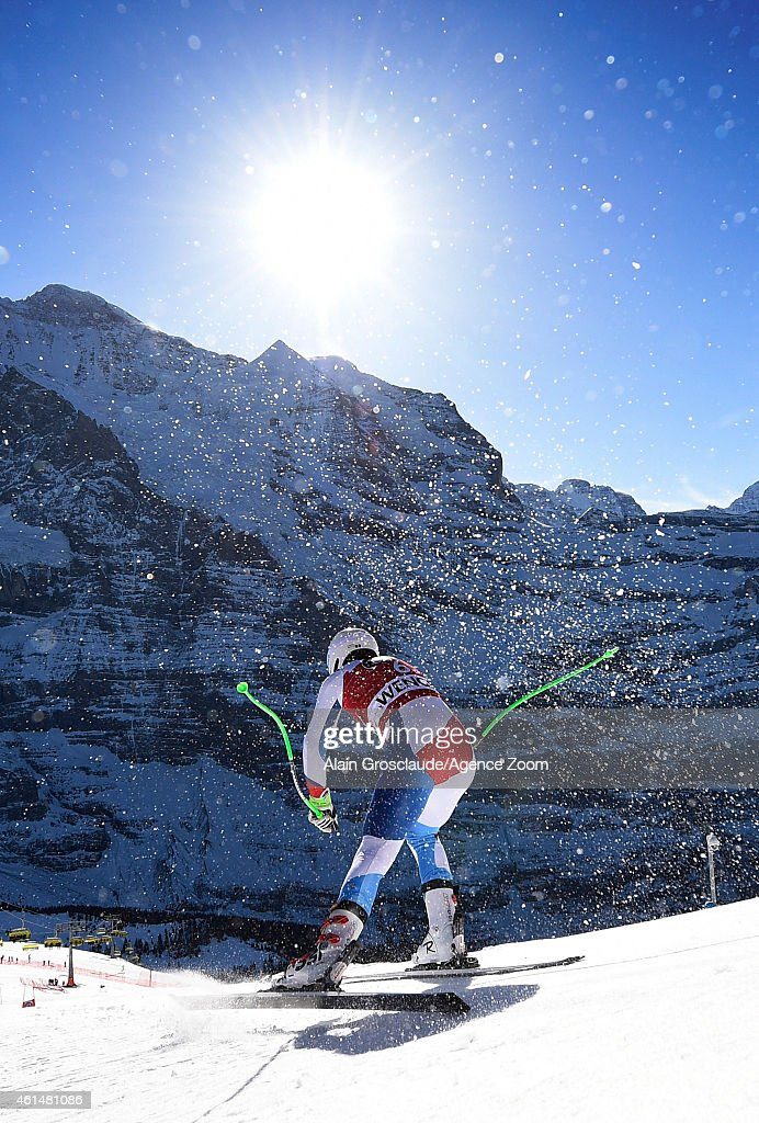<a gi-track='captionPersonalityLinkClicked' href=/galleries/search?phrase=Carlo+Janka&family=editorial&specificpeople=5622589 ng-click='$event.stopPropagation()'>Carlo Janka</a> of Switzerland competes during the Audi FIS Alpine Ski World Cup Men's Downhill Training on January 13, 2015 in Wengen, Switzerland.
