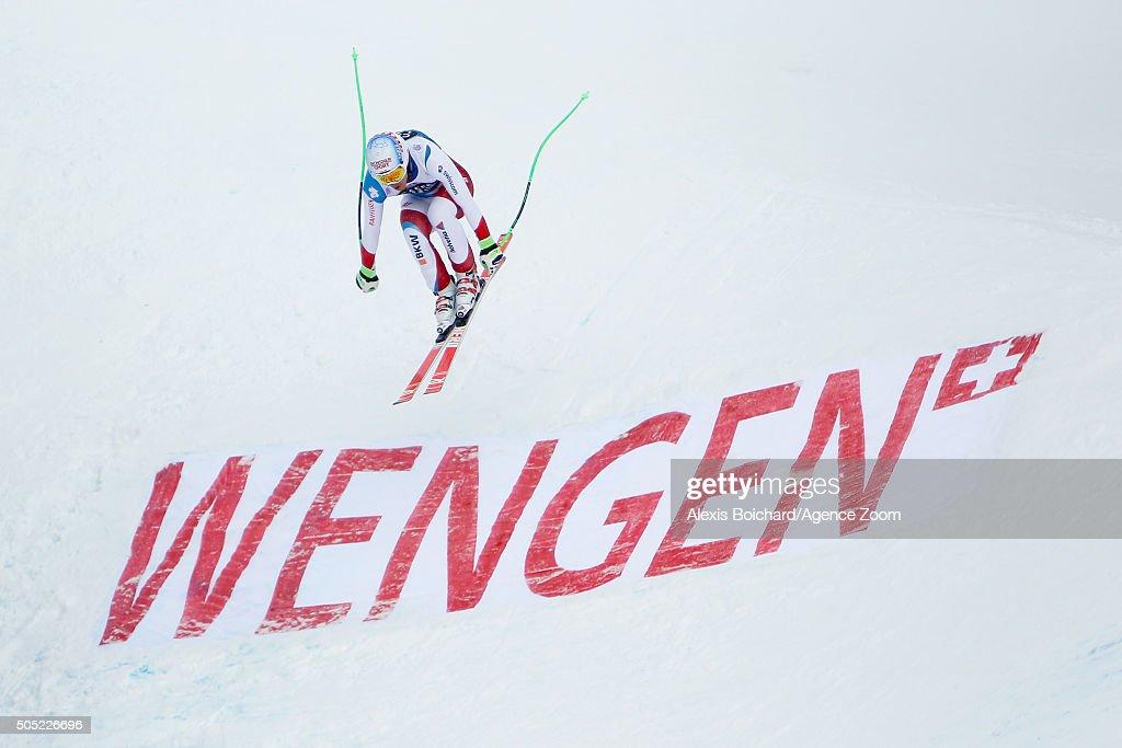 Carlo Janka of Switzerland competes during the Audi FIS Alpine Ski World Cup Men's Downhill on January 16 2016 in Wengen Switzerland