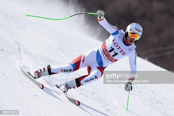 Carlo Janka of Switzerland competes during the Audi FIS Alpine Ski World Cup Men's Downhill Training on February 05 2016 in Jeongseon South Korea