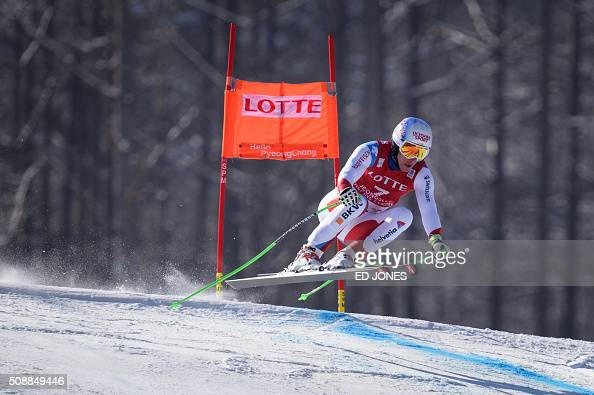 Carlo Janka of Switzerland competes in the 8th Men's SuperG event of the FIS Alpine Ski World Cup in Jeongseon county some 150km east of Seoul on...