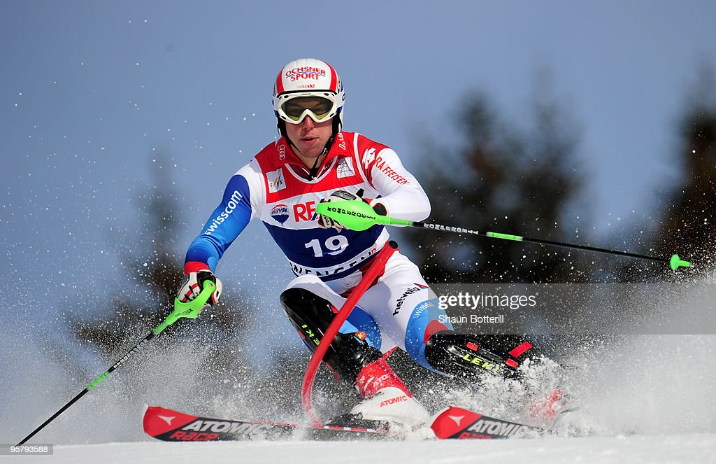 Carlo Janka of Switzerland in action during the FIS Ski World Cup Men's Super Combined Slalom on January 15, 2010 in Wengen, Switzerland.