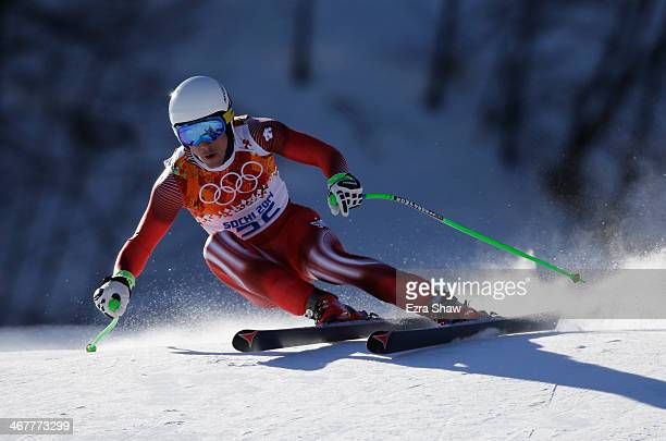 Carlo Janka of Switzerland skis during training for the Alpine Skiing Men's Downhill during the Sochi 2014 Winter Olympics at Rosa Khutor Alpine...