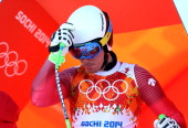 Carlo Janka of Switzerland starts a run during training for the Alpine Skiing Men's Downhill ahead of the Sochi 2014 Winter Olympics at Rosa Khutor...