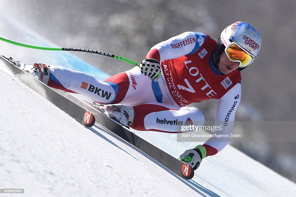 ,<a gi-track='captionPersonalityLinkClicked' href=/galleries/search?phrase=Carlo+Janka&family=editorial&specificpeople=5622589 ng-click='$event.stopPropagation()'>Carlo Janka</a> of Switzerland takes 1st place during the Audi FIS Alpine Ski World Cup Men's Super G on January 07, 2016 in Jeongseon, South Korea.