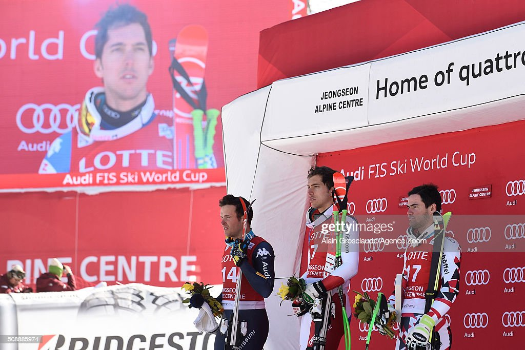 ,Carlo Janka of Switzerland takes 1st place,Christof Innerhofer of Italy takes 2nd place Vincent Kriechmayr of Austria takes 3rd place during the Audi FIS Alpine Ski World Cup Men's Super G on January 07, 2016 in Jeongseon, South Korea.