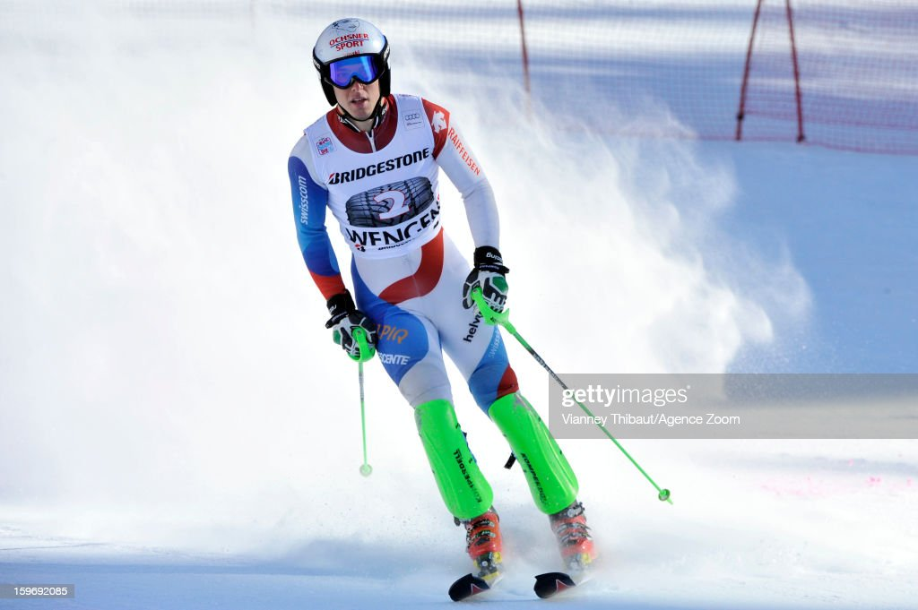 Carlo Janka of Switzerland takes 3rd place during the Audi FIS Alpine Ski World Cup Men's Super Combined on January 18, 2013 in Wengen, Switzerland.