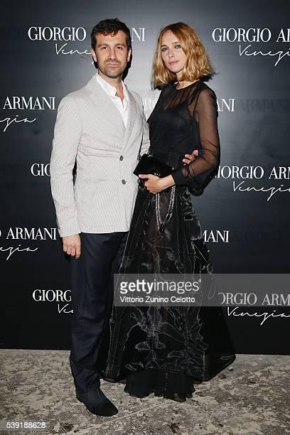 Carlo Mazzoni and Candela Novembre attend cocktail in celebration of the new Giorgio Armani boutique in Venice on June 9 2016 in Venice Italy