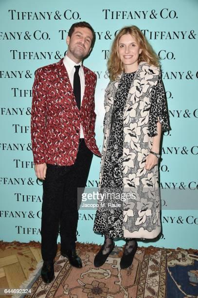 Carlo Mazzoni and Martina Mondadori attend the TiffanyCo And Luisa Beccaria party during Milan Fashion Week Fall/Winter 2017/18 on February 23 2017...