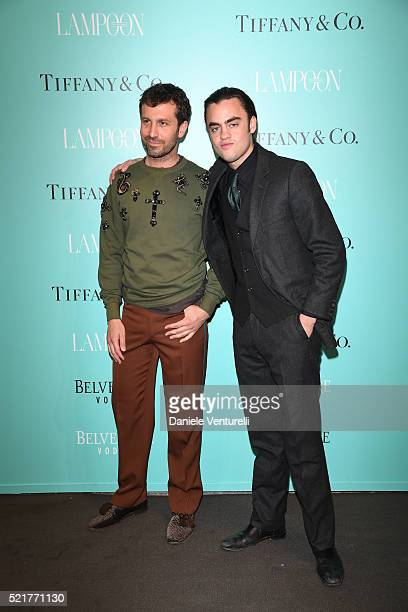 Carlo Mazzoni and Michael Avedon attend The Fashionable Lampoon cocktail and dinner for The DOT Circle in via Bagutta on April 16 2016 in Milan Italy