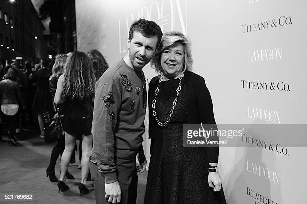 Carlo Mazzoni and Raffaella Banchero attend The Fashionable Lampoon cocktail and dinner for The DOT Circle in via Bagutta on April 16 2016 in Milan...