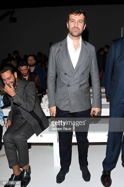 Carlo Mazzoni arrives at the Salvatore Ferragamo show during Milan Men's Fashion Week Spring/Summer 2017 on June 19 2016 in Milan Italy