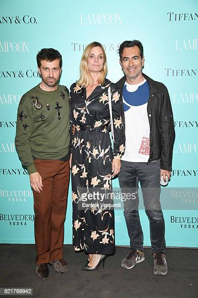 Carlo Mazzoni Filippa Lagerback and Cristiano Burani attend The Fashionable Lampoon cocktail and dinner for The DOT Circle in via Bagutta on April 16...