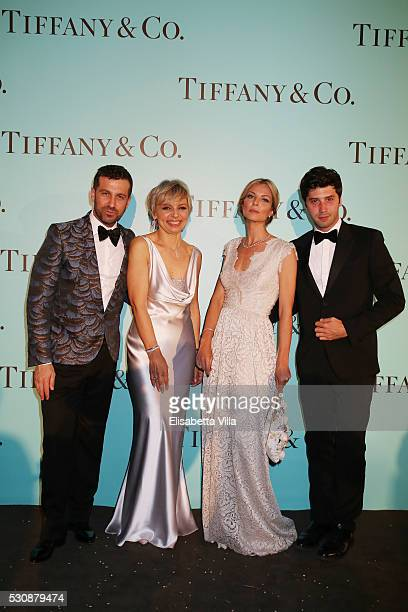 Carlo Mazzoni Florence Rollet Roberta Ruiu and Alessandro Fornaro attends Tiffany Co celebration of the opening of its new store in Rome at at Villa...