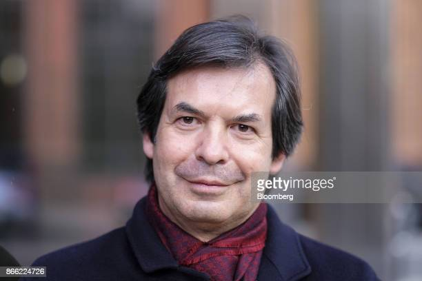 Carlo Messina chief executive officer of Intesa Sanpaolo SpA poses for a photograph following a Bloomberg Television interview on the 'Leaders Lunch'...