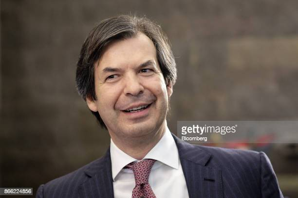 Carlo Messina chief executive officer of Intesa Sanpaolo SpA reacts ahead of a Bloomberg Television interview on the 'Leaders Lunch' show in London...