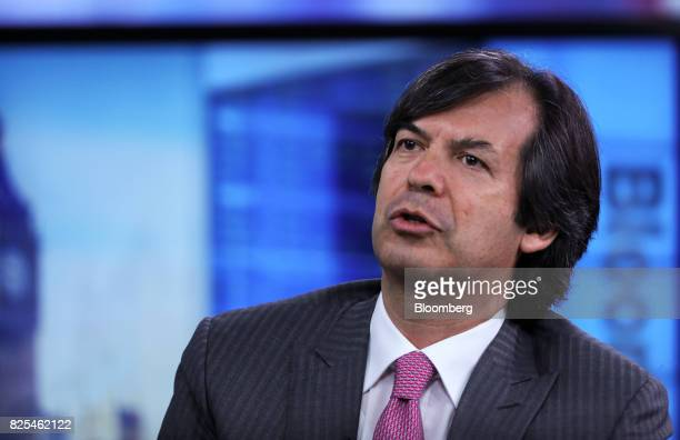 Carlo Messina chief executive officer of Intesa Sanpaolo SpA speaks during a Bloomberg Television interview in London UK on Wednesday Aug 2 2017...
