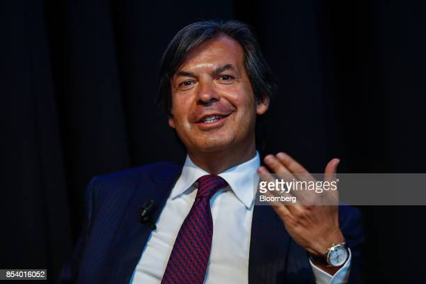Carlo Messina chief executive officer of Intesa Sanpaolo SpA speaks during a panel discussion at the Bloomberg European Banking Conference in Milan...