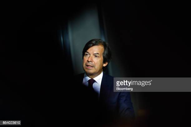 Carlo Messina chief executive officer of Intesa Sanpaolo SpA speaks during a Bloomberg Television Interview at the Bloomberg European Banking...
