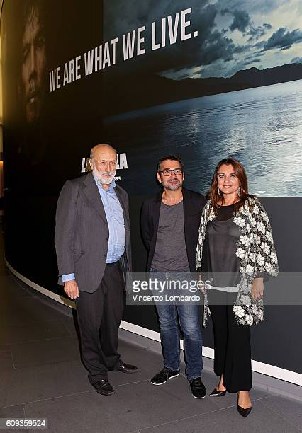 Carlo Petrini Denis Rouvre and Francesca Lavazza attend the 2017 Lavazza Calendar Presentation on September 20 2016 in Milan Italy