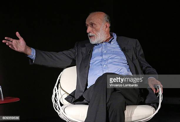 Carlo Petrini speaks during the 2017 Lavazza Calendar Presentation on September 20 2016 in Milan Italy