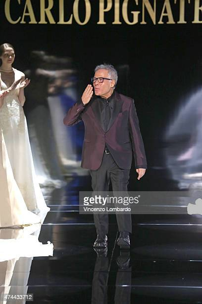 Carlo Pignatelli acknowledges the applause of the audience at the Carlo Pignatelli Fashion Show 2016 on May 22 2015 in Milan Italy