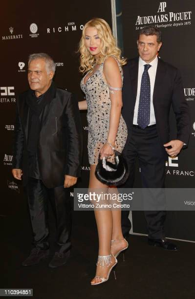 Carlo Pignatelli Valeria Marini Giovanni Cottone attend the 'Fundaction Privada Samuel Eto'o' Charity Event Red Carpet on March 17 2011 in Milan Italy
