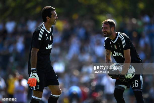 Carlo Pinsoglio and Gianluigi Buffon of Juventus A smile during the preseason friendly match between Juventus A and Juventus B on August 17 2017 in...
