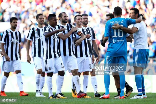 Carlo Pinsoglio celebrates with teammates after Juventus defeat Roma 65 in penalty kicks during the International Champions Cup 2017 match at...