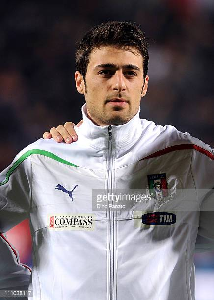 Carlo Pinsoglio goal keeper of Italy U21 poses line up for a team photo during the international friendly match between Italy U21 and Sweden U21 at...