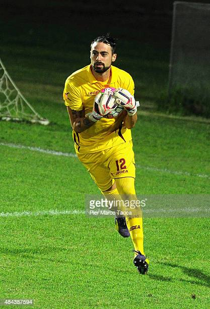 Carlo Pinsoglio goalkeeper of AS Livorno in action during the TIM Cup match between Carpi FC and AS Livorno at Stadio Sandro Cabassi on August 16...