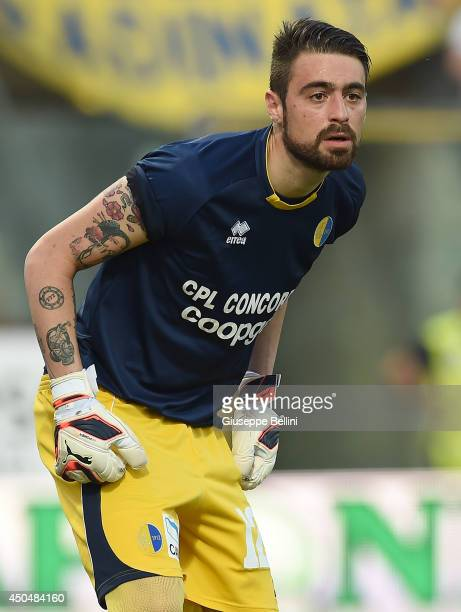 Carlo Pinsoglio of Modena in action during the Serie B playoff match between Modena FC and AC Cesena at Alberto Braglia Stadium on June 8 2014 in...