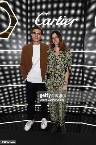Carlo Sestini and Virginia Valsecchi are seen at Precious Garage installation designed for Cartier on April 5 2017 in Milan Italy